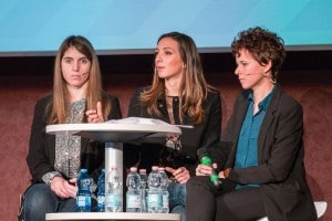 Le tre ambasciatrici di For girls in science: Maria Enrica Di Pietro, Carlotta Teruzzi, Caterina Mongo