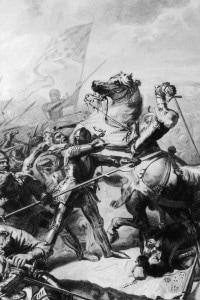 Il generale Talbot nella battaglia di Castillon il 17 luglio 1453.