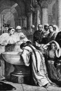 """Il """"battesimo dei Mori"""". Isabella e Ferdinando costrinsero al battesimo forzato gli ebrei e i musulmani che vivevano nella parte di penisola iberica riconquistata, espellendo dal regno chi si fosse rifiutato di convertirsi al cattolicesimo."""