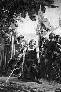 """Un particolare dello sbarco di Cristoforo Colombo in America. I due sovrani miravano a una Spagna unita e forte a livello mondiale: la missione di Colombo fu una delle mosse messe in atto dai """"re cattolici"""" per raggiungere lo scopo."""
