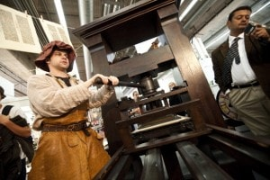 Riproduzione della macchina di Gutenberg
