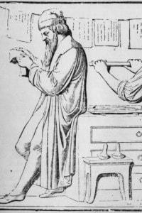 Gutenberg esamina il lavoro della pressa