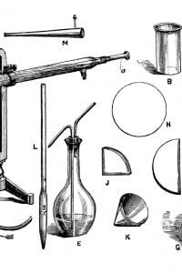 Illustrazione di strumenti chimici antichi