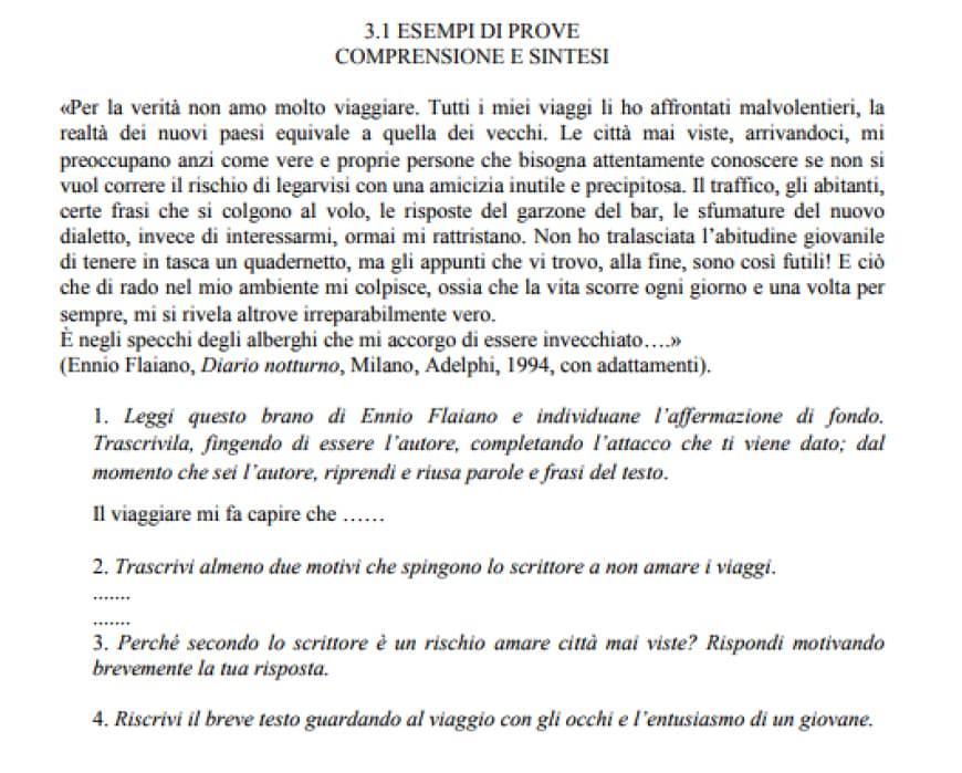 Esempio tipologia C comprensione del testo per l'esame di terza media di italiano