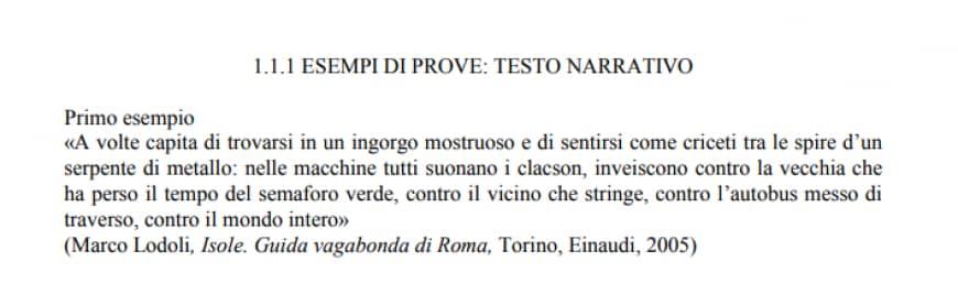 Esempi del Miur per le tracce di italiano dell'esame di terza media: il testo narrativo