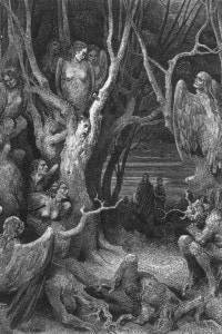 Virgilio e Dante nel bosco in cui le anime dei miserabili sono trasformate in alberi. Illustrazione di Gustave DoreIo