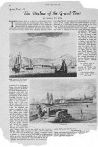"""Una pagina del """"The Listener"""" del 1930 parla del """"declino del Grand Tour"""". Le immagini sono del 1790 e rappresentano Calais e Dover."""
