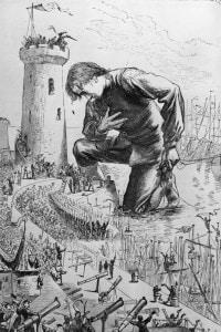 Un'illustrazione del 1726, I viaggi di Gulliver