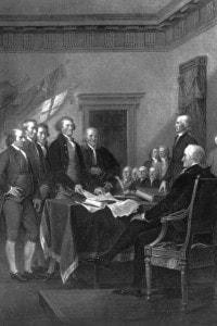 la Dichiarazione di indipendenza degli Stati Uniti d'America. Il momento della firma