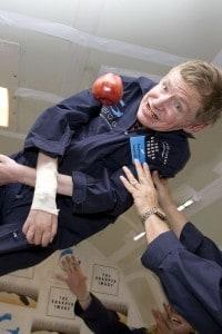Stephen Hawking durante il volo a gravità zero