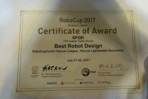 Il certificato che attesta la vittoria del robot come Best Robot Design ai mondiali 2017 del Giappone