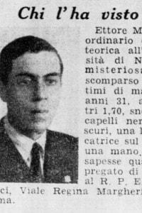 L'annuncio della scomparsa di Ettore Majorana