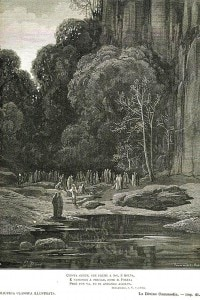 Dante Alighieri incontra alcuni spiriti in un'illustrazione di Gustavo Dore'
