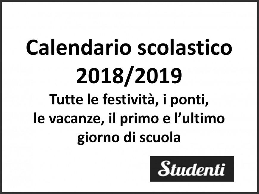 Calendario scolastico 2018/2019: tutte le festività, le vacanze e i ponti