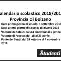Calendario scolastico 2018-2019 Provincia di Bolzano