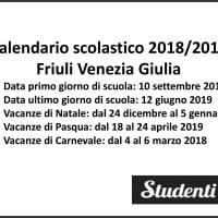 Calendario scolastico 2018-2019 Friuli Venezia Giulia