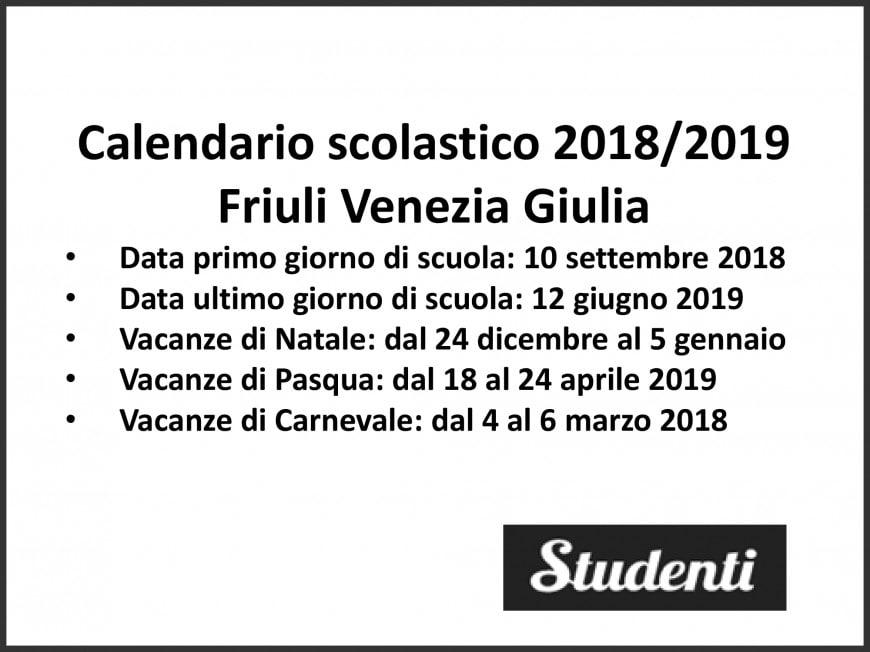 Calendario Scolastico Friuli Venezia Giulia.Calendario Scolastico 2018 2019 Friuli Venezia Giulia