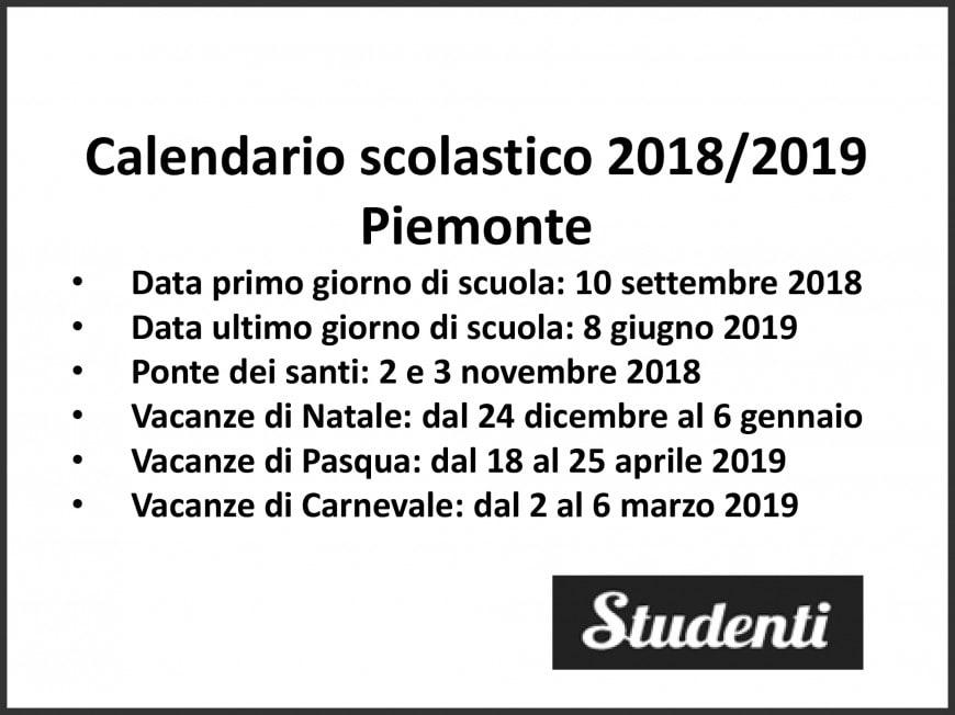 Calendario scolastico 2018-2019 Piemonte