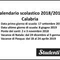 Calendario scolastico 2018 2019 Calabria