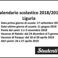 Calendario scolastico 2018-19 Liguria