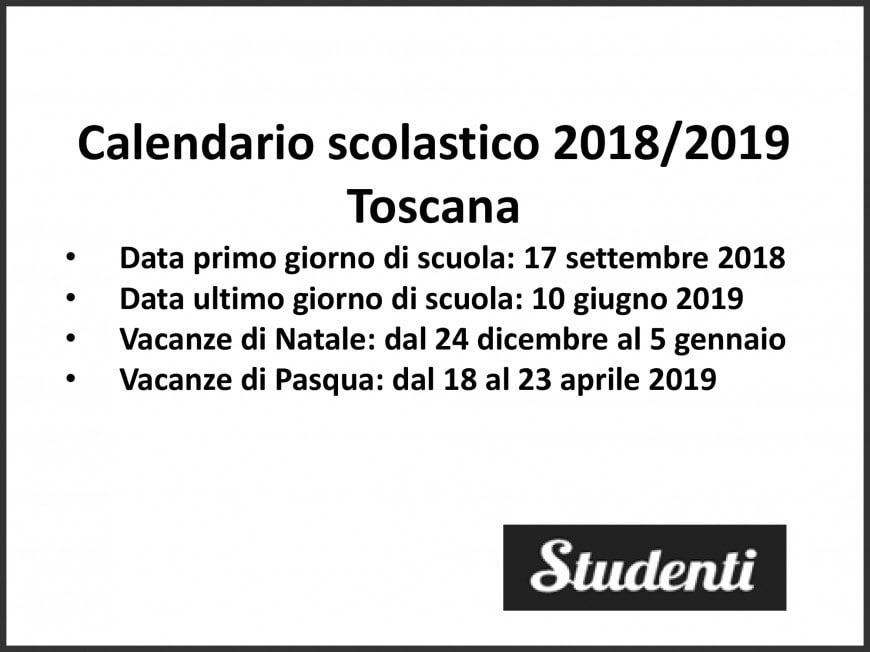 Calendario scolastico 2018-19 Toscana