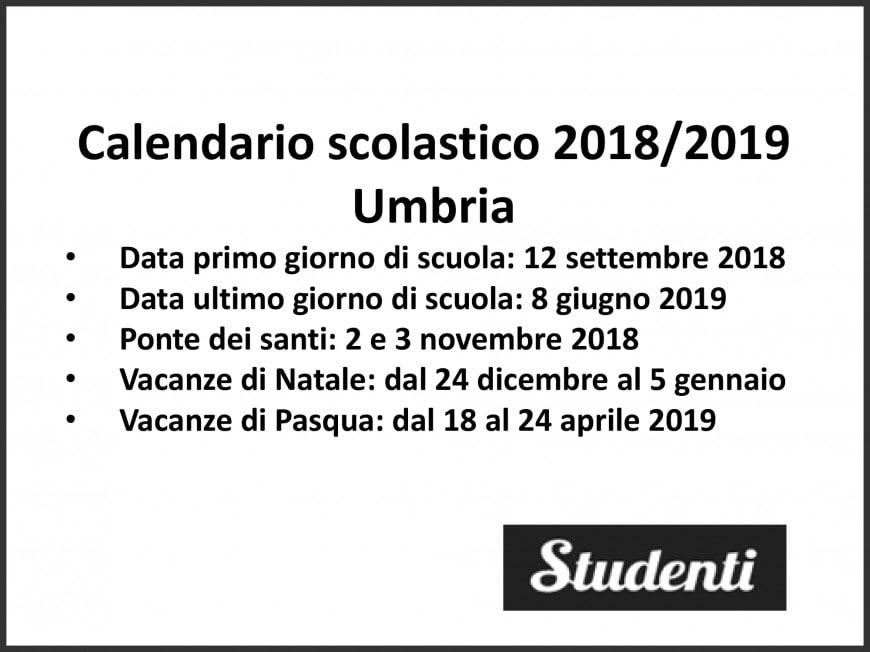 Calendario scolastico 2018-19 Umbria
