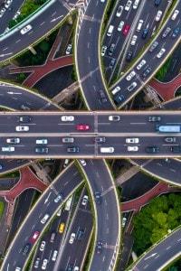 Un'autostrada nella città di Shanghai
