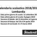Calendario scolastico 2018-19 Lombardia