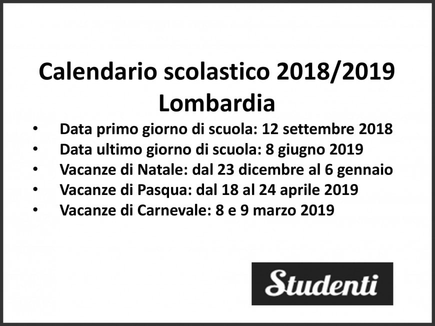 Calendario Scolastico Regione Lombardia.Calendario Scolastico 2018 19 Lombardia Calendario
