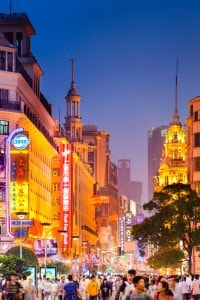 Nainjing Road, nello shopping district di Shanghai