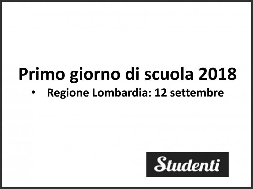 Primo giorno di scuola 2018 Lombardia