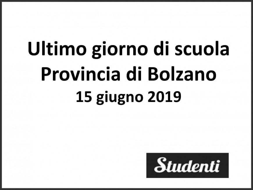 Ultimo giorno di scuola 2019 Provincia di Bolzano