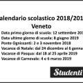 Calendario scolastico 2018 2019 Veneto