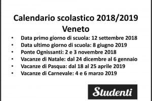 Calendario Veneto.Calendario Scolastico 2018 2019 Scuole Chiuse Per Elezioni