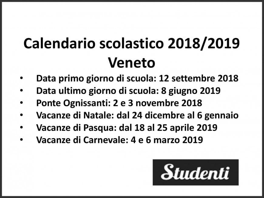 Calendario Giorno.Calendario Scolastico 2018 2019 Veneto Calendario