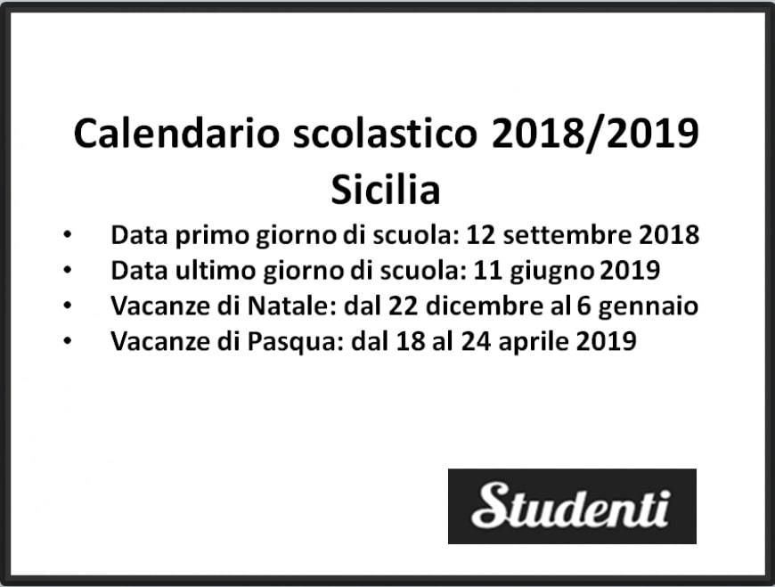 Calendario Scolastico Regione Sicilia.Calendario Scolastico 2018 2019 Sicilia Calendario