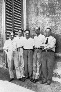 Da sinistra: Oscar D'Agostino, Emilio Segrè, Edoardo Amaldi, Franco Rasetti ed Enrico Fermi