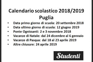 Calendario Scolastico 2020 18 Puglia.Calendario Scolastico 2018 2019 Scuole Chiuse Per Elezioni