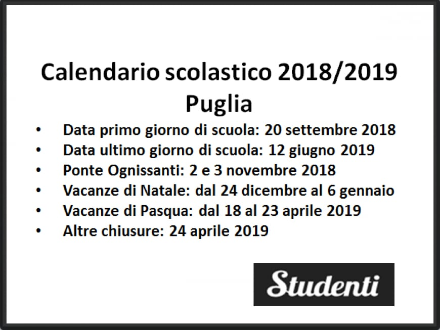 Calendario scolastico 2018 2019 Puglia