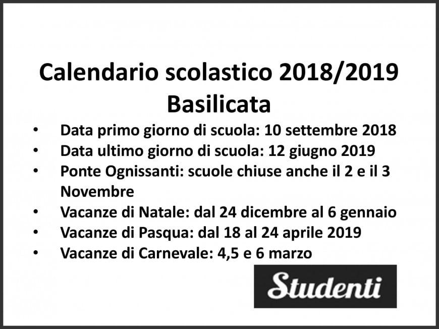Calendario Scuole.Calendario Scolastico 2018 2019 Basilicata Calendario
