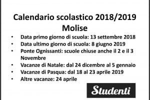 Calendario Scolastico Regione Molise.Calendario Scolastico 2018 2019 Scuole Chiuse Per Elezioni
