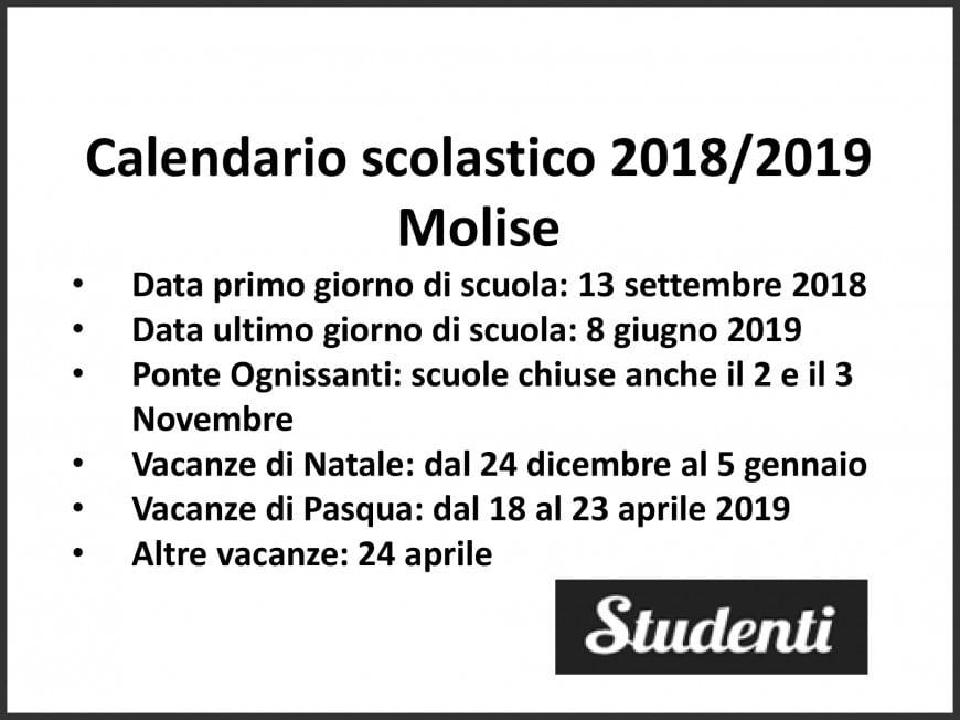 Calendario Scolastico Regione Molise.Calendario Scolastico 2018 2019 Molise Calendario