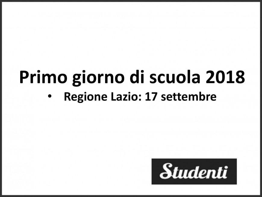 Primo giorno di scuola Lazio 2018