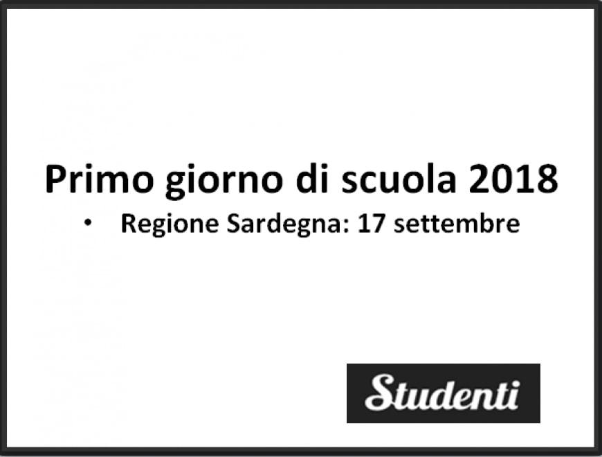 Primo giorno di scuola Sardegna 2018