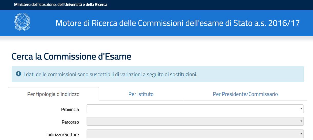 Visualizzazione desktop motore di ricerca Miur commissari esterni