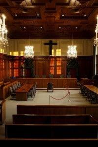 L'aula del Palazzo di Giustizia di Norimberga in cui ebbe luogo il processo