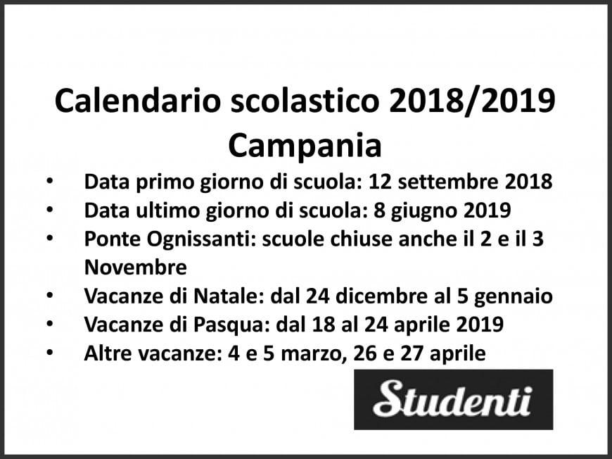 Calendario scolastico 2018 2019 Campania