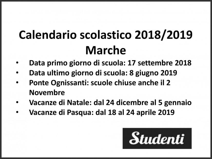Calendario Scolastico Marche.Calendario Scolastico 2018 2019 Marche Calendario