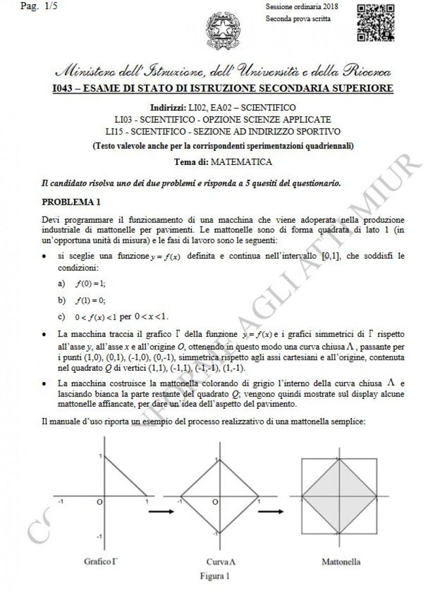 Tracce seconda prova matematica Pagina 1