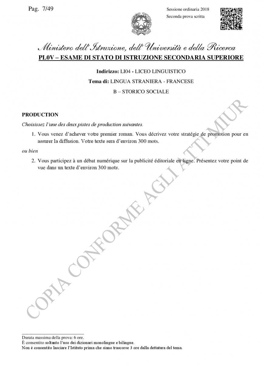 Traccia ufficiale Miur francese, seconda prova liceo linguistico 2018